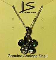 Hawaiian Abalone Shell Plumeria Pendant 18 Necklace Hawaii Islands Jewelry