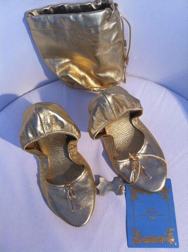 CDR Anna h&m Dello Russo at h&m Anna Ballerine Scarpe Pelle Oro EUR 39 40 size US 8 9 d4b4e6