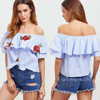 Summer Women Shirt Floral Embroidered Off Shoulder Top Ruffles Frill Striped Tee