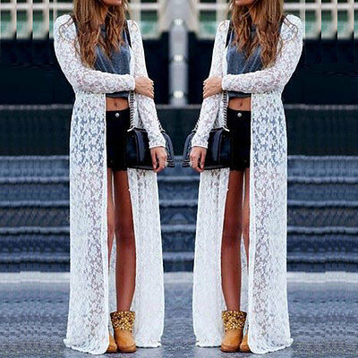 Women Sheer Shirt Chiffon Lace Maxi Cardigan Dress Long Beach Summer White New