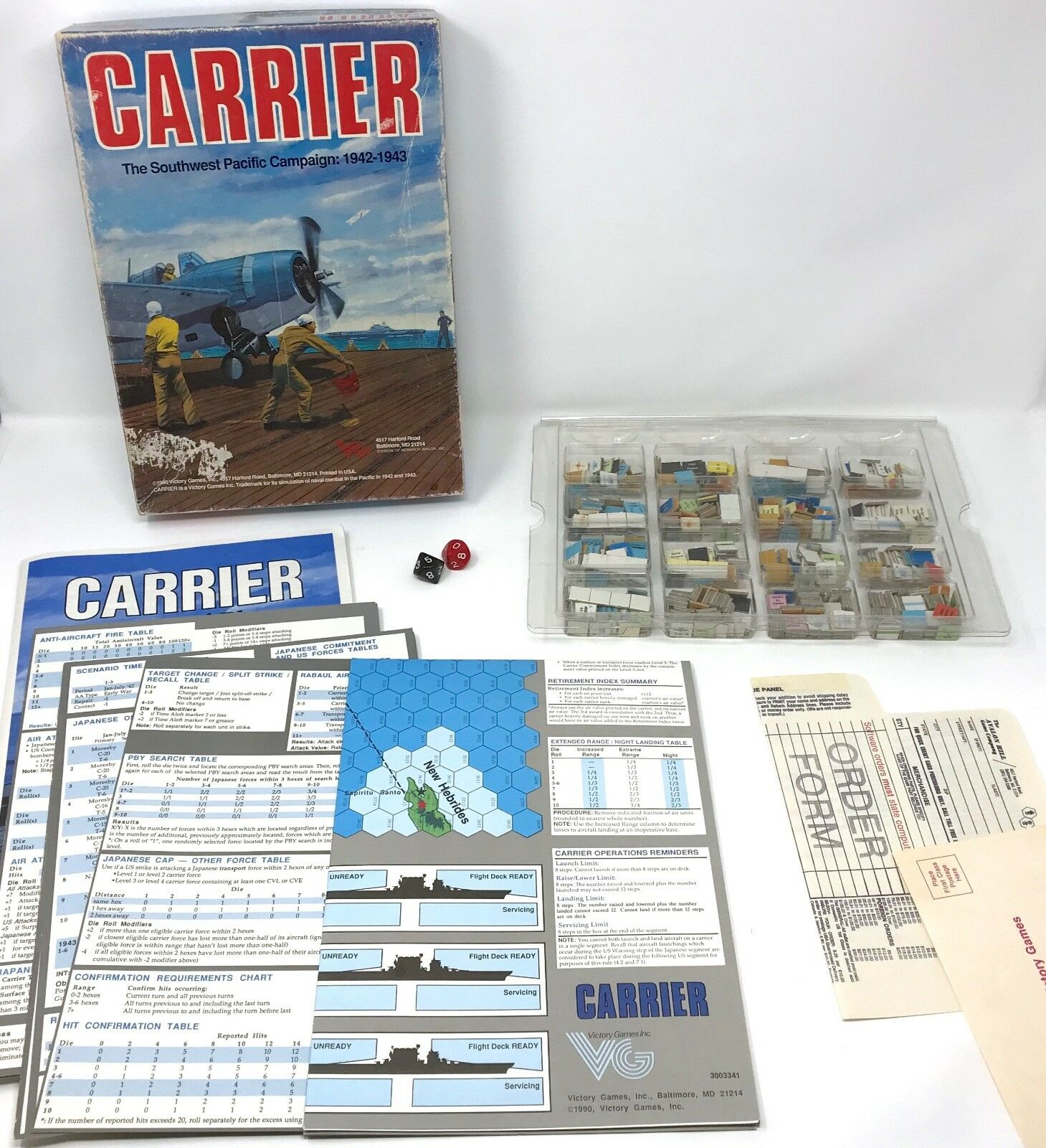 Vintage Victory Games 1990 CARRIER SW Pacific Campaign solitaire board game war