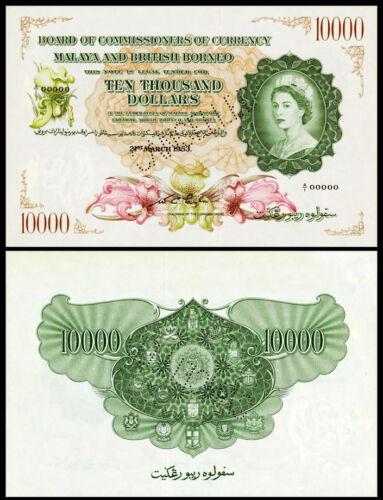 !COPY! MALAYA & BRITISH BORNEO 10000$ DOLLARS 1953 BANKNOTE !NOT REAL!