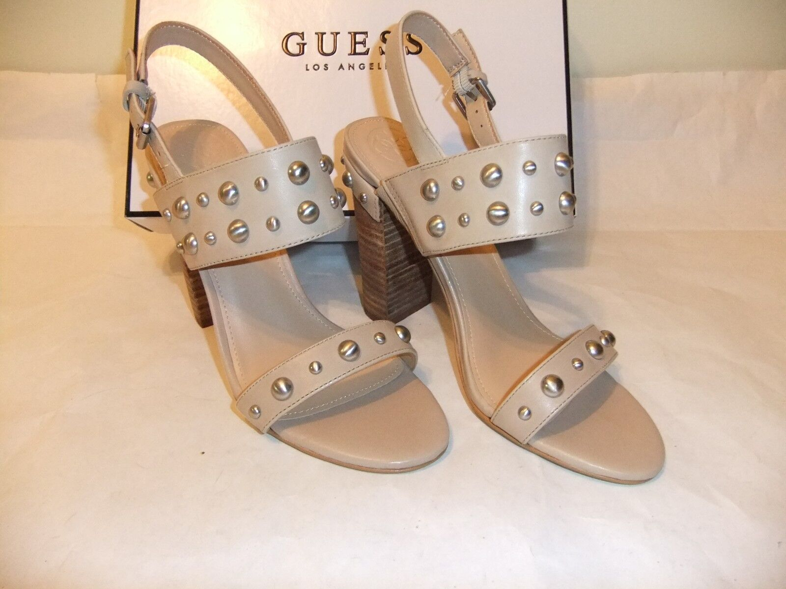 GUESS Cheree2 Beige Taupe Leather High Heel Sandal Open Toe Size 7.5 NIB