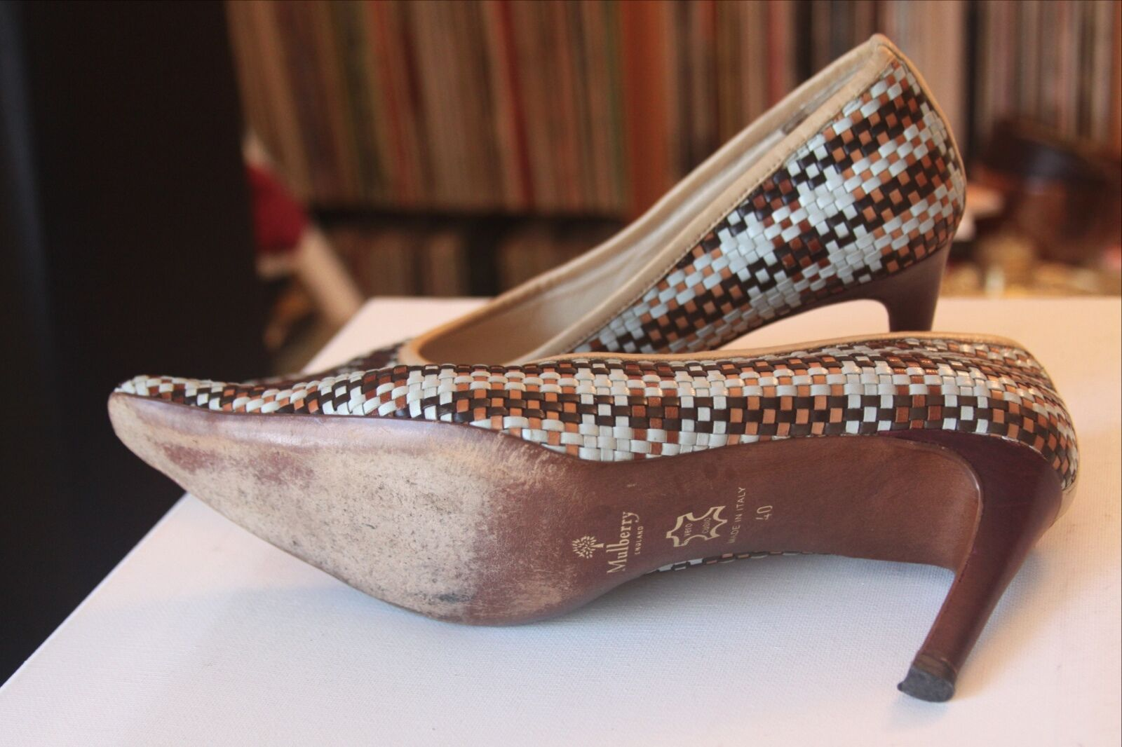 Mulberry England Multi Farbe Größe Leder Weave Pointed Heels Größe Farbe 40 Made In  909f4a