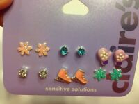 Six Pairs Of Winter Themed Claire's Sensitive Solutions Earrings