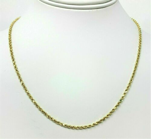 Real 10K Yellow Gold 2mm Diamond Cut Rope Chain Pendant Necklace 22/'/'