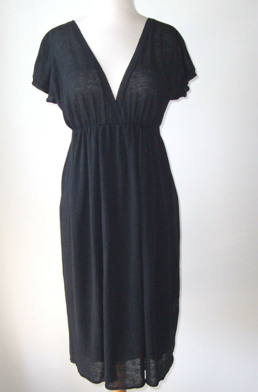 GIAMBATTISTA VALLI Dark Grey Linen Silk Knit Dress M L