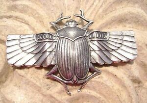 Genuine-Art-Nouveau-Jugendstil-ornament-Egyptian-scarab-70mm-silver-plated