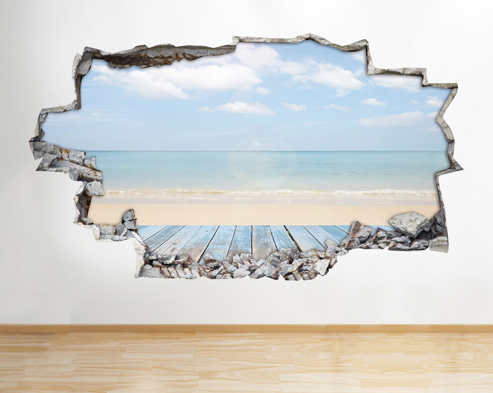 A198 Sea Ocean Sand Beach Paradise Wall De Autocollant Chambre 3D Vinyle enfants