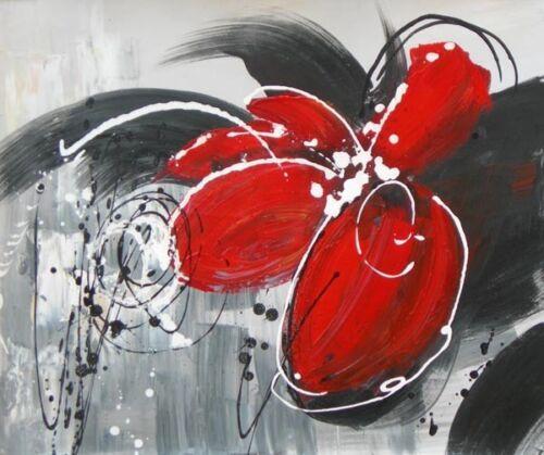 FRAMED HAND PAINTED BLACK WHITE /& RED MODERN FLOWER CANVAS OIL PAINTING