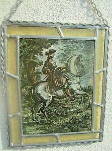 fensterbild-hinterglasmalerei-reitersmann-zu-pferde-vintage-bleiverglast