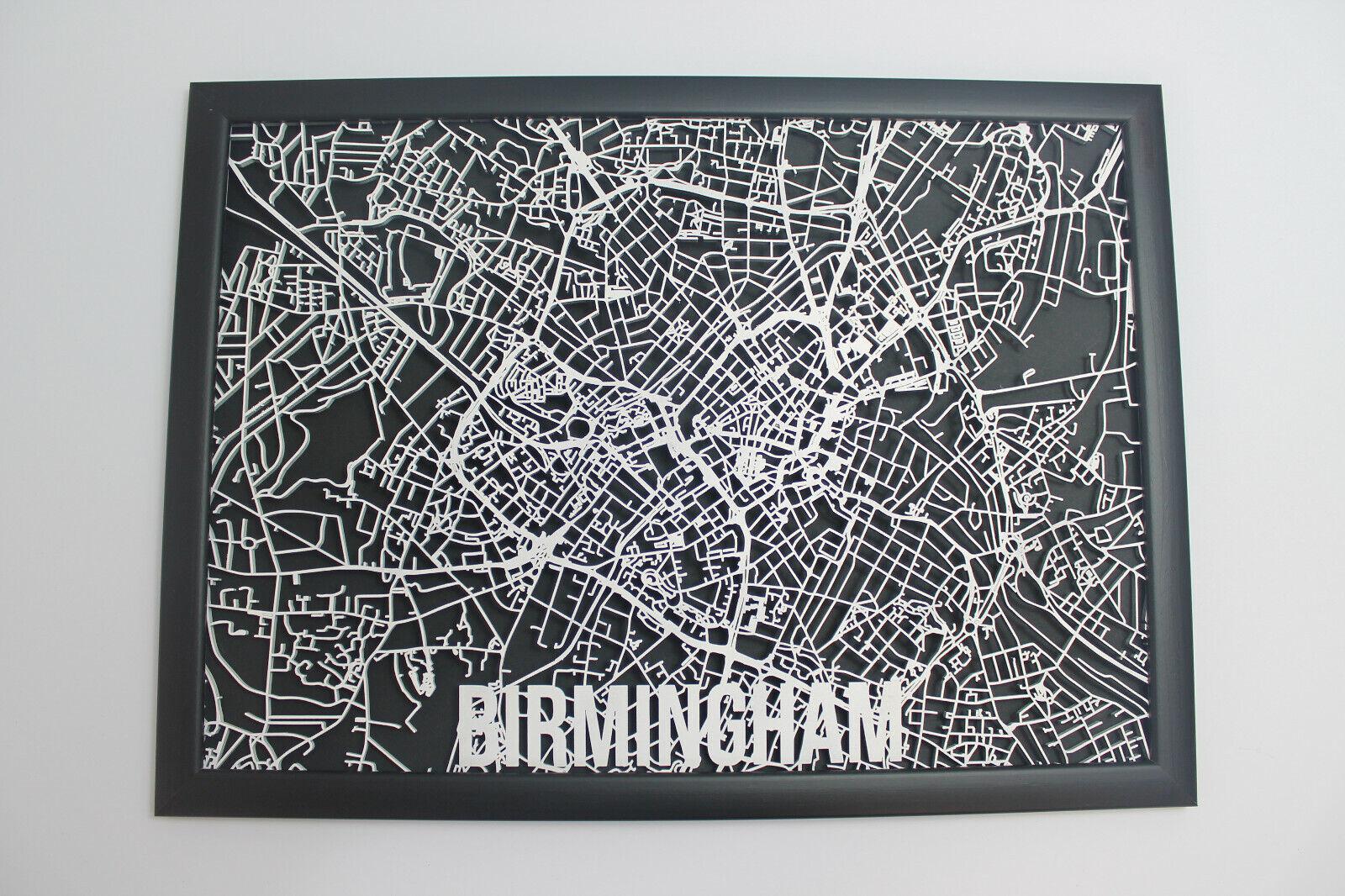 Birmingham Laser Cut Street Maps Wooden Map