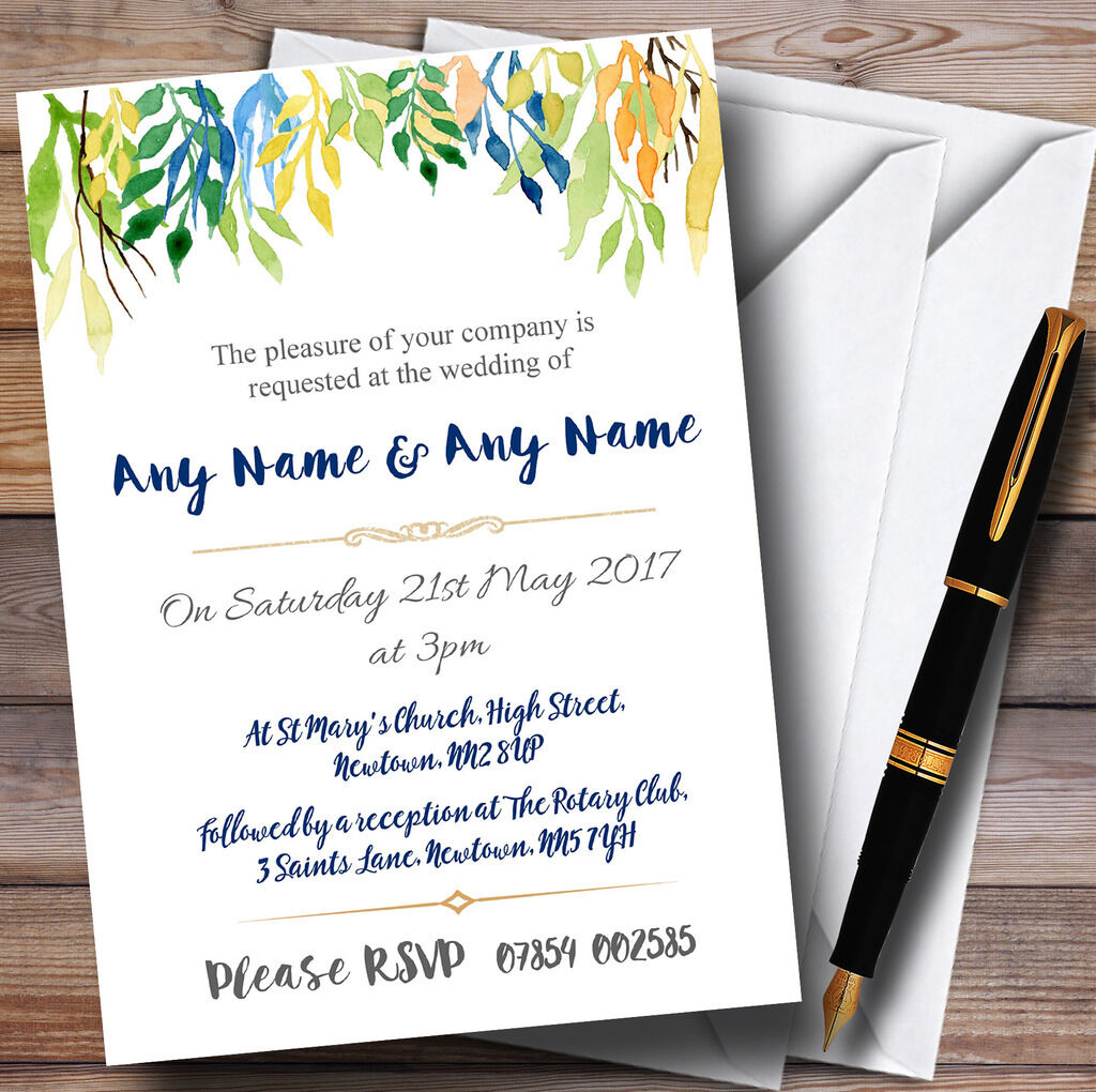 Autumn Leaves Watercolour Floral Header Personalised Wedding Invitations