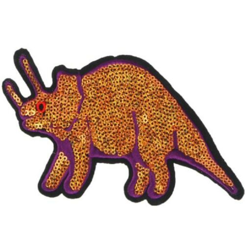 DIY Sequin Dinosaur Patches Embroidered Applique Clothing Sew CN