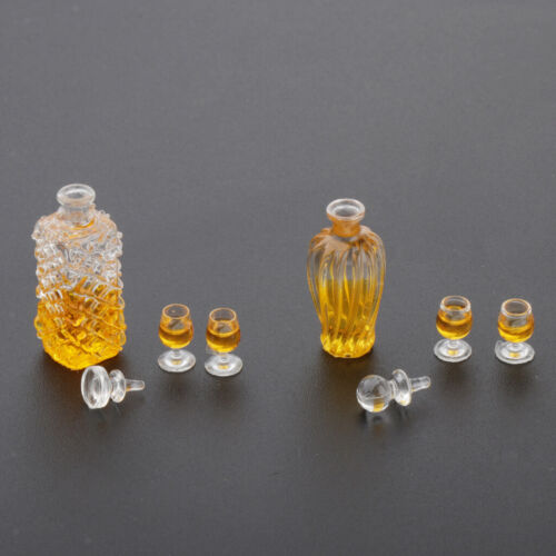 1:12 Scale Dollhouse Miniature Whiskey Wine Bottle and Cups Shop Drink Model