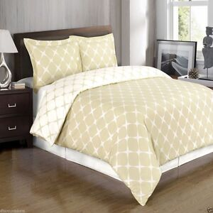 Beige-amp-Ivory-Reversible-Cotton-Duvet-Cover-AND-Pillow-Shams-ALL-SIZES
