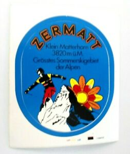 Souvenir-Aufkleber Zermatt Small Matterhorn Ski Visp Wallis Switzerland 80er
