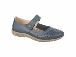 b9811eae23e Details about Boulevard ALEX Ladies Womens Extra Wide EEE Leather Touch  Mary Jane Shoes Navy