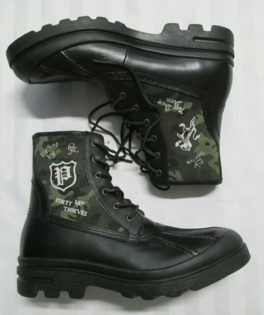 POLO RALPH LAUREN Mens UDEL Black Leather Duck Boots 11431-G18 Size 14 US