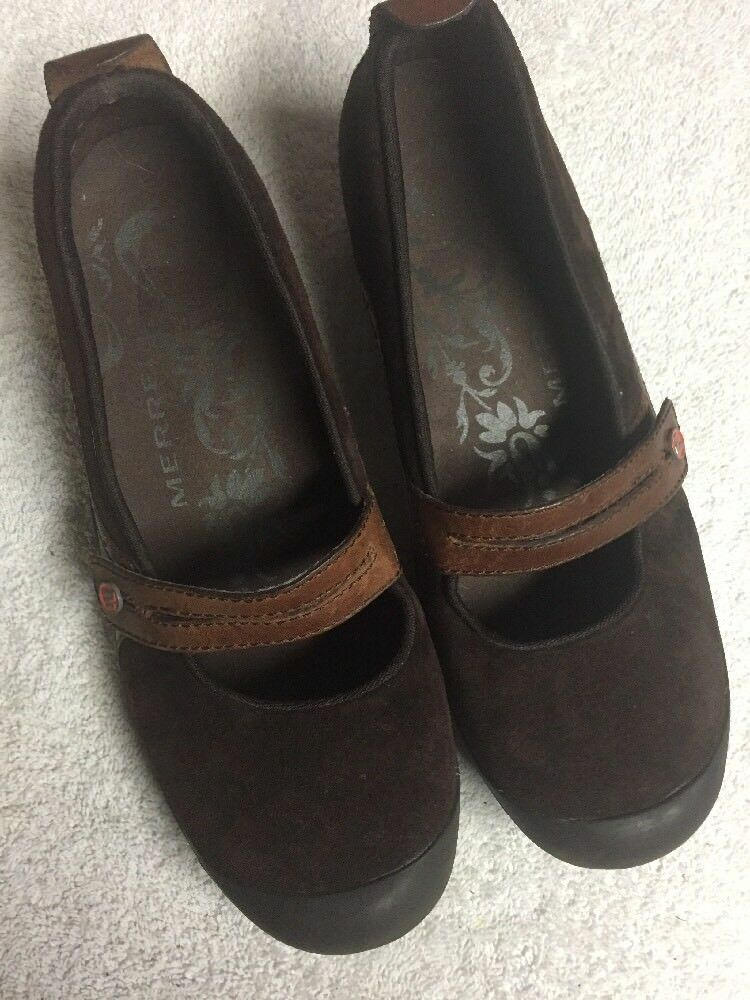 Merrell Women's Brown Leather Mary Jane Comfort Casual shoes Size Sz 8 Medium M