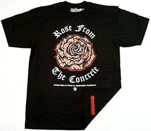 STREETWISE-CONCRETE-ROSE-T-shirt-Urban-Streetwear-Tee-Men-039-s-L-4XL-Black-NWT