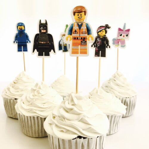 12x Superhero Movie Cupcake Topper Pick. HANDMADE Party Lolly Loot Bag Batman