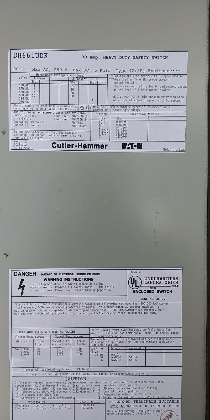 Cutler Hammer Dh661udk 30 Amp 6 Pole Safety Switch Type 3r 12 Ebay Series Parallel Heavy Duty 8 Terminal