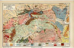 Sudeten Prag Geologische Karte Originale Chromolithographie Von 1902 24x16cm M6 Weder Zu Hart Noch Zu Weich Antiquitäten & Kunst