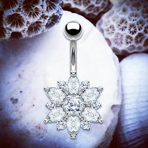 Details About Florence Flower Belly Bar Crystal Gem Belly Button Piercing Navel Jewellery Ring