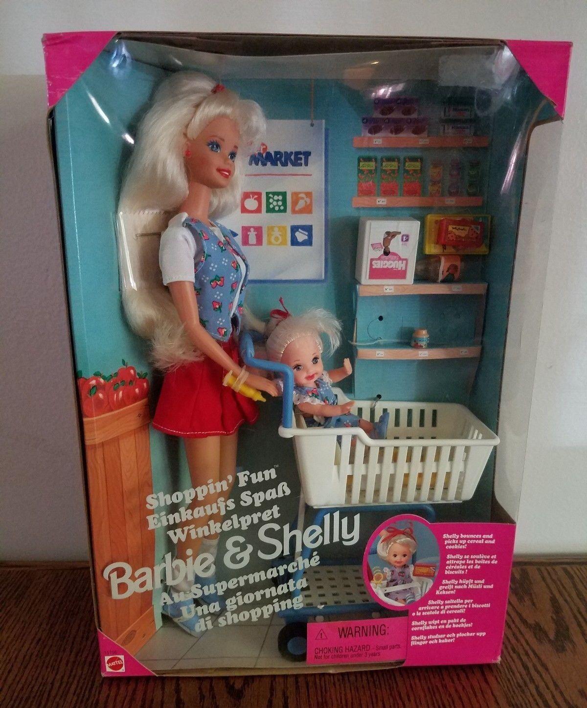 RARE MULTI LINGUAL Shopping Fun Barbie & Shelly NIB LOOK at Groceries & Box