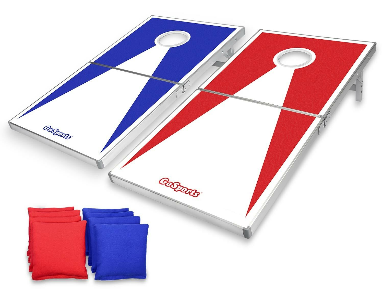 GoSports Classic Regulation Size Cornhole Set Includes 8 Bags, Carry Case & Rule
