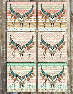 Boho-Drinks-Coasters-Set-of-6-NEOPRENE-Tribal-Patterns-with-Horns-Decor-Barware