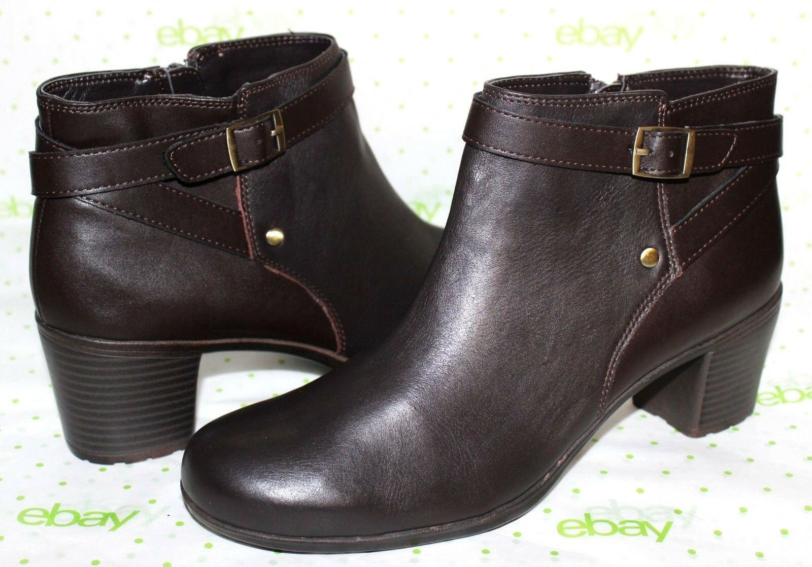 ✿ EASY SPIRIT Zip Adino Espresso Genuine Leder Zip SPIRIT Ankle Stiefel 9.5 M NEW  L@@K 327676