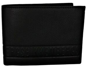 Men-039-s-Wallet-Black-BIKKEMBERGS-Wallet-Men-Black-Db-Stripe-Billfold-7C-C