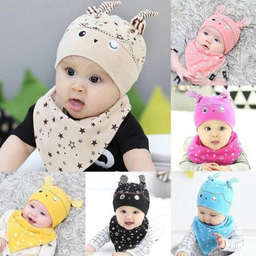 2PCS Set Bandana Cotton Baby Boy Girl Cap Owl Hat  Bib Head Scarf Toddler Saliva