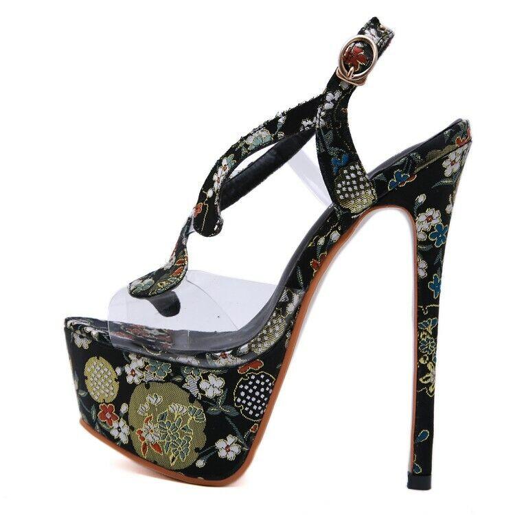 Para Mujeres Puntera Abierta Transparente Correa De Tobillo Plataforma Hebilla Sandalias zapatos tacón alto