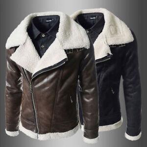 Winter-Fashion-Men-039-s-Warm-Jacket-Leather-Coat-Parka-Fleece-Jacket-Slim-Outwear