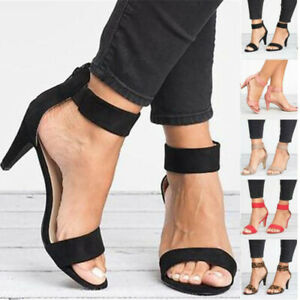 Ladies-Mid-Stiletto-Heels-Peep-Toe-Sandals-Ankle-Strap-Summer-Casual-Party-Shoes