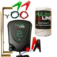 Electric Fence Energiser Plb13 1.3j 12v Fencer + 250m Poly Wire