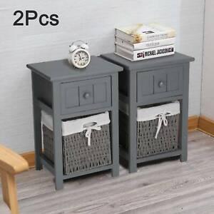 2PCS Grey Modern Storage Bedside Tables Night Stand Cabinet Drawer Wicker Basket