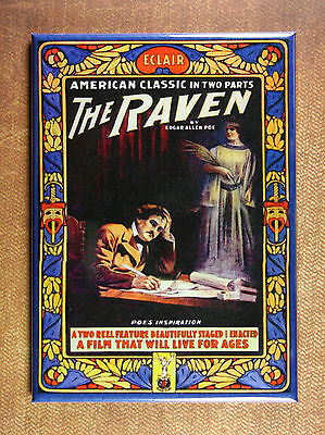 The Raven Refrigerator Magnet  Vintage Style Artwork  Movie  Edgar Allen Poe