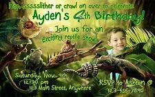 REPTILE Personalized PHOTO Birthday Invitations - 4x6 OR 5x7