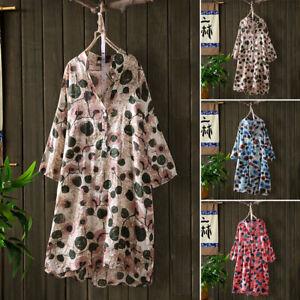 Mode-Femme-Chemise-Robe-Casuel-Loose-Manche-Longue-Impression-Droit-Jupe-Plus
