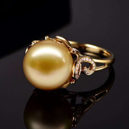 Women 18K Yellow Gold Filled Pearl Crystal Flower Rings Men Rings JZ009