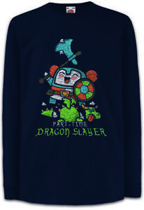 Part-Time-Dragon-Slayer-Kinder-Langarm-T-Shirt-Pen-amp-Paper-Nerd-RPG-MMORPG-Fun