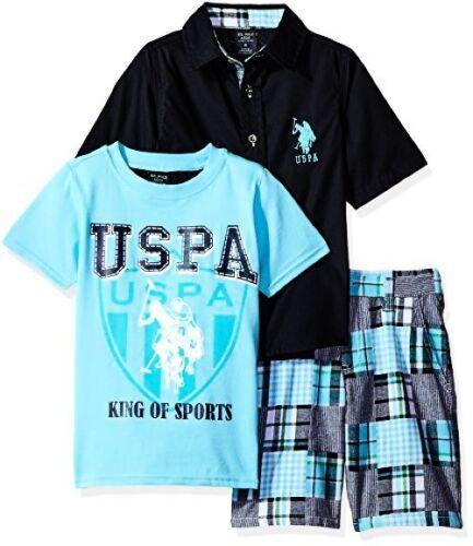 US Polo Assn Little Boys Patchwork Short Childrens Apparel U.S