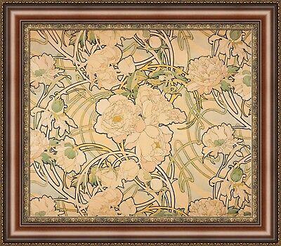 "V12-10 Alphonse Mucha Peonies Framed Canvas Giclee Print 27/""x23.5/"""