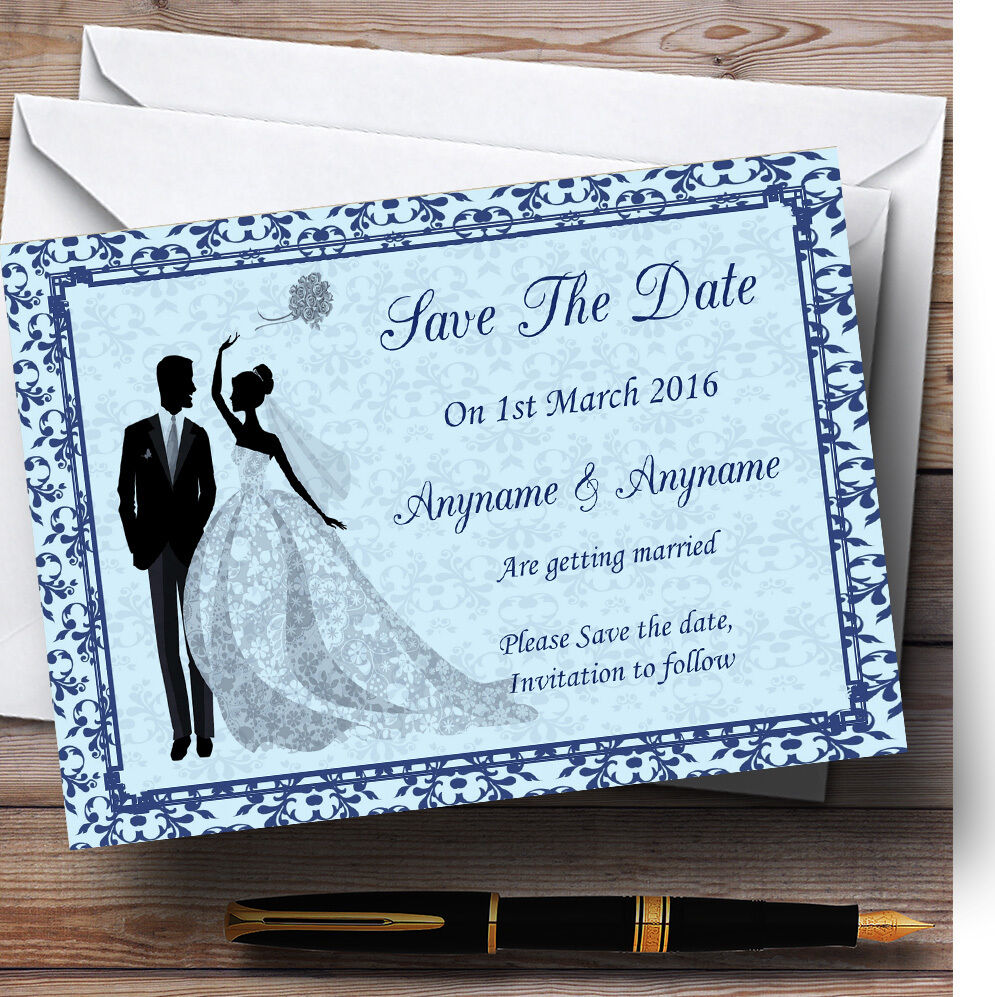 Blau Classic Vintage Personalised Wedding Save The Date Cards