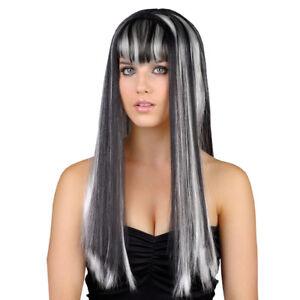 Adult Ladies Black White Vamp Vixen Long Wig Fancy Dress Halloween Dead Gorgeous