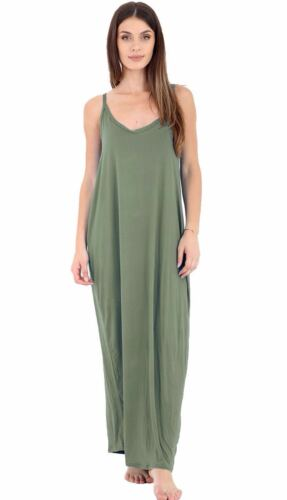 Womens Ladies Maxi Dress Camisole Strappy Lagenlook Italian Drap Baggy Plus Size